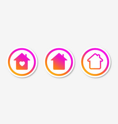 Stay home set icon and self-isolation for social vector