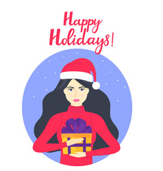 the girl in the cap of santa claus and in a warm vector image
