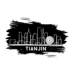 tianjin china city skyline silhouette hand drawn vector image