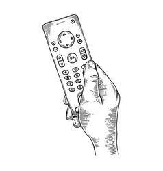 tv remote control engraving vector image