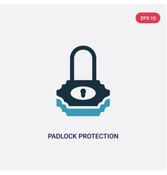 two color padlock protection active icon from vector image