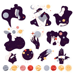 Universe and outer space solar system planets vector