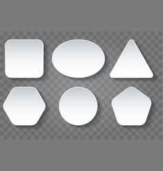 various shape blank white buttons set vector image