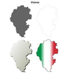 Vicenza blank detailed outline map set vector