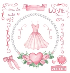Watercolor bridal shower setPink dressroses vector