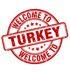 Welcome to turkey red round vintage stamp vector