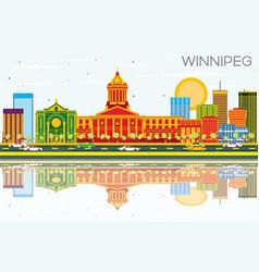 Winnipeg skyline with color buildings blue sky vector