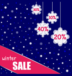 winter sale banner on background with snowflake vector image
