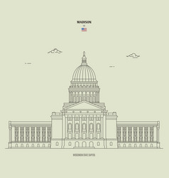 Wisconsin state capitol in madison usa vector