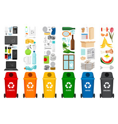 garbage containers and types of trash vector image vector image