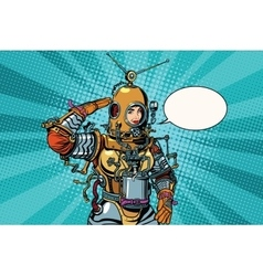 Retro woman salutes astronaut or deep sea diver vector image