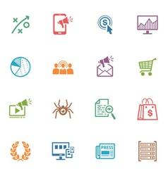 SEO and Internet Marketing Colored Icons - Set 3 vector image