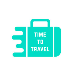 time to travel with green melted suitcase vector image vector image