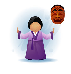 woman in traditional asian clothes kimono dancing vector image