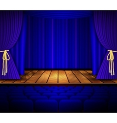 Cinema or theater scene with a curtain vector