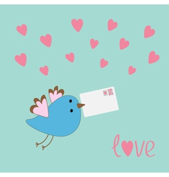 Flying bird with letter and hearts love card vector image