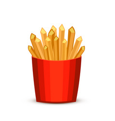 french fries in red package fast food french vector image