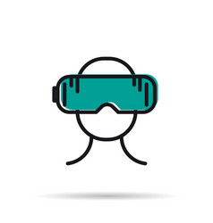 line icon - man with virtual reality mask vector image
