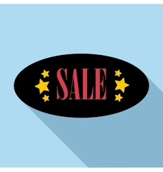 Sale sticker oval shape icon flat style vector