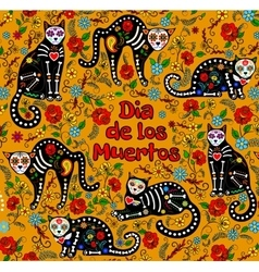 sugar skull cats vector image