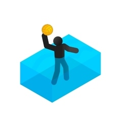 Swimmer playing water polo isometric 3d icon vector image vector image