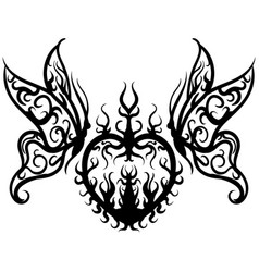 tattoo sketch heart with butterfly vector image vector image