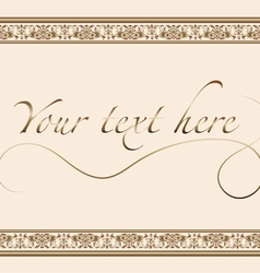 Vintage greeting card with gold ornament vector image vector image