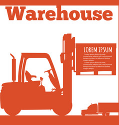 warehouse banner with forklift truck silhouette vector image vector image