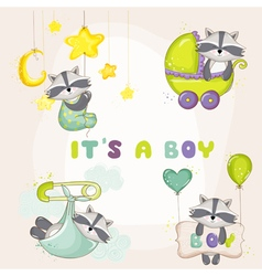 Baby Racoon Set - for Baby Shower Card vector image vector image