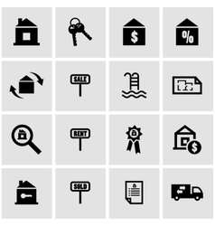 black real estate icon set vector image