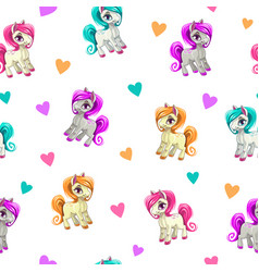 cute seamless pattern with funny cartoon pony and vector image vector image