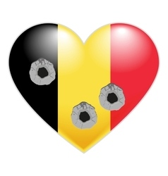 Flag of Belgium Belgian Heart pierced by bullets vector image vector image