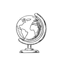 Modern globe with desktop stand sketch vector image
