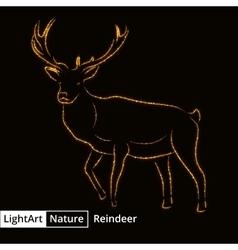 Reindeer silhouette of lights on black background vector image vector image
