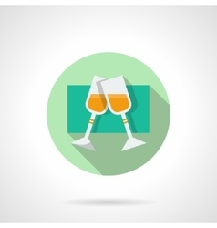 Round flat icon for pair champagne glasses vector image vector image