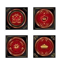 set red gold framed labels vector image
