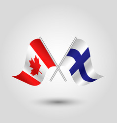 two crossed canadian and finnish flags vector image vector image