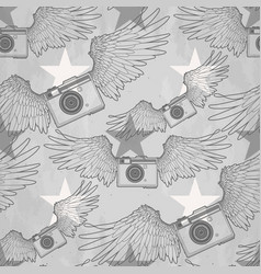 graphic vintage camera with wings vector image vector image
