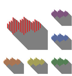 sound waves icon set of red orange yellow vector image