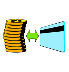Transfer of cash to card icon cartoon vector