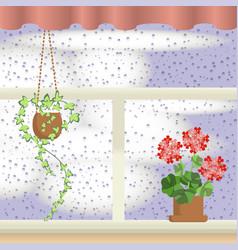 Window with raindrops vector