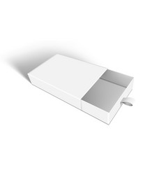 3d cardboard sliding drawer box with ribbon pull vector