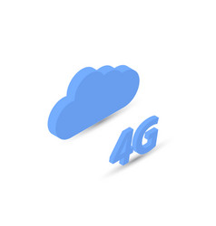 4g network and data cloud isometric vector