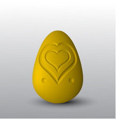 a golden egg with a heart cut out on it vector image