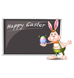 A happy easter greeting with a bunny beside a gray vector image