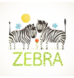 African Zebra Animals and Fun Lettering Cartoon vector