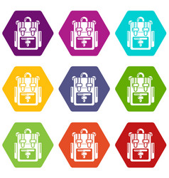 backpack adventure icons set 9 vector image