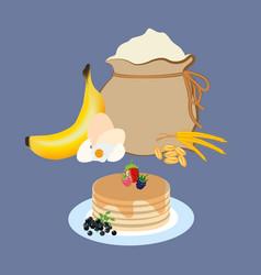 Banana pancakes ingredients with berries vector