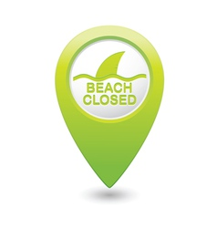 beach closed sharks symbol green map pointer vector image