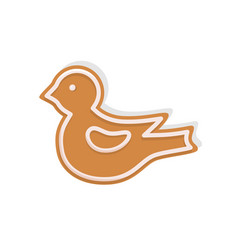bird cookie made of gingerbread for christmas vector image